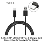 6.5 Foot USB to USB Type-C Charging Cable