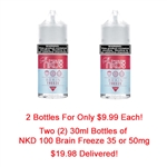 Two 30ml Bottles of NKD 100 Salt Brain Freeze E Liquid - Hand Made in the USA!